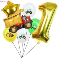18pcs Vehicle Balloons 32'' Number Foil Balloon Children Birthday Party Supplies