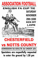 CHESTERFIELD - VINTAGE 1930's STYLE MATCH POSTER