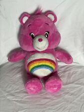 "Cheer Bear Care Bears Hug & Giggle 13"" Pink Bear. Giggles When You Press Tummy!"