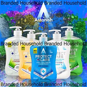 6 X ASTONISH LIQUID HAND WASH ANTIBAC VEGAN MOISTURISER SOAP CHOOSE 650ML