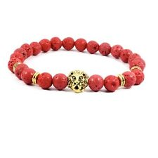 DF6 Natural Lava Stone Beads Red & Gold Lion Head Stretch Bracelet