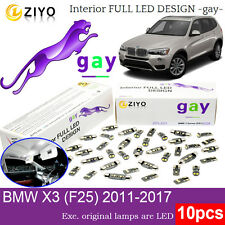 10 Bulbs Xenon White Room Lamps LED Interior Light Kit For BMW X3 F25 Error Free