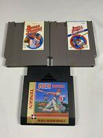 Bases Loaded 1,2 & RBI Baseball (Nintendo NES) Cleaned Tested Works GREAT Lot 3