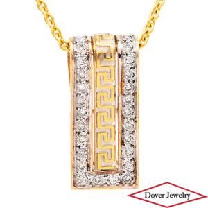 Estate Diamond 14K Two-Tone Gold Meander Bar Slide In Pendant NR