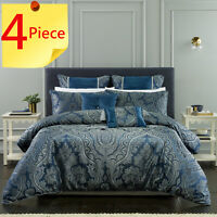 Clementine Navy 4 Piece Pack Quilt Doona Cover Set by Bianca Elegance | King