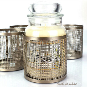 Official Yankee Candle Claridge Gold Punched Jar Metal Sleeve Holder X1
