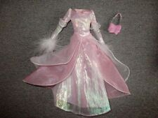 Barbie CLOTHES Pink White Gown Boa Sleeves Purse    Lot P3