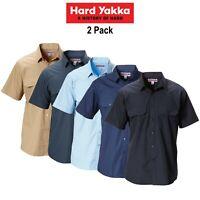 Mens Hard Yakka Permanent Press Shirt 2 Pk Short Sleeve Work Lightweight Y07591