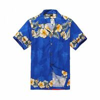 Men Tropical Hawaiian Aloha Shirt Cruise Luau Beach Party Blue Cross Floral YeL