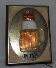 Vintage BUDWEISER ON TAP Wall Lighted Beer Sign ~ Anheuser Busch ~ Nice ~