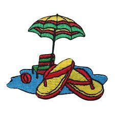 ID 1798 Beach Scene Patch Umbrella Flip Flop Craft Embroidered Iron On Applique