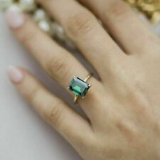 1.50 Ct Green Emerald Cut Solitaire Proposal Promise Ring in 14k Yellow Gold FN