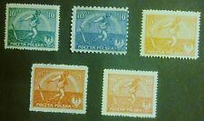 POLAND STAMPS MNH 2Fi125I-127II Sc154-55A, 191 Mi158-60, 162-63, Sowing man,1921