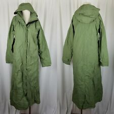 LL Bean Hooded Long Maxi Duster Sage Green Rain Trench Coat Womens S Vintage