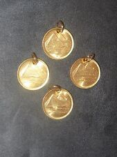 Egypt Pyramid Gold Vintage Coin Pendants Unusual Lot Of 4 -18Mm Egyptian