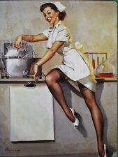 Elvgren Pinup Girl Calendar Art Nurse White Uniform Black Stockings Leg Show WOW