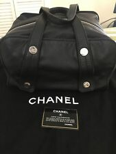 Authentic CHANEL Boston Handbag Black Large Calfskin