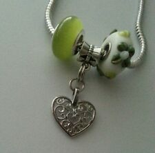 Murano Lampwork Bead Heart Charm Pendant fits Silver European Bracelet 3pcs