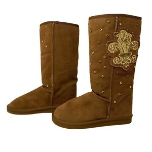 YELLOW BOX Boots Suede Cozy Comfy Embellished Rhinestones Studs Wool Lined Sz 7