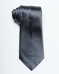 "Chanel $210 New Gray Solid Satin Silver Monogram Silk Tie 3.4"" 8.5 cm"