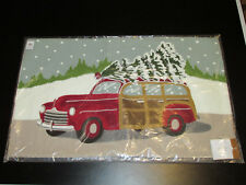 Pottery Barn Woody Car Crewel Embroidered Lumbar Pillow Cover16x26 Nwt Christmas