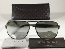 New Authentic Gucci Aviator Pilot Sunglasses Ruthenium Gray Silver Mirror GG2260