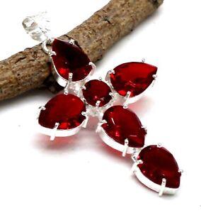 "925 Sterling Silver Mozambique Garnet Gemstone Jewelry Cross Pendant Size-2"""
