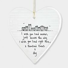 "East Of India Hanging Heart Gift / Decoration ""I wish you lived nearer..."""
