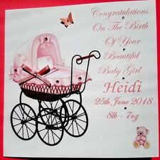 PERSONALISED  HANDMADE NEW BABY GIRL CARD OR CHRISTENING CARD PINK OR BLUE