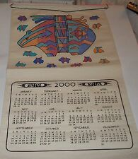 Native American Style Bear 2000 Calender Tea Towel w/Rod Pocket  RO Tsaert Tewa