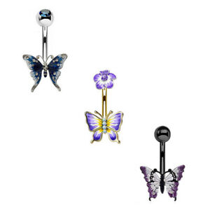 "3 - 14 GA 3/8"" Barbell Butterfly & Flower Belly Button Navel Ring Dangle B628"