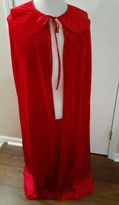 Long Red Velvet-look Cape with Collar by Underwraps A Cut Above Costumes
