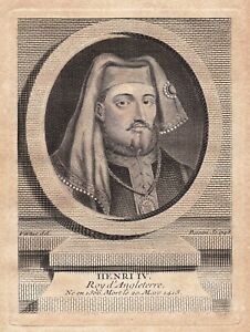 Portrait XVIIIe Henri IV Roi D'Angleterre Bolingbroke Duc d'Aquitaine Lancastre