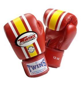 NEW! Twins Lumpinee Leather Boxing Gloves - Red & Yellow - 16 oz - Muay Thai HTF