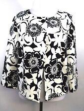 Merona Women's Jacket Black White Floral Print Cotton 3/4 sleeve size Medium
