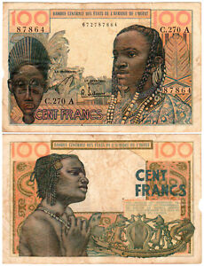 West African States 100 Francs P#2b (1959-62) F/VF