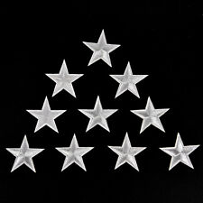 10PCs Silver Stars Embroidered Badges Iron On Patches Motif Applique Stickers GD