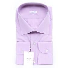 $560 NWT FRAY Purple Micro Check Spread Collar Cotton Dress Shirt 15 3/4 40