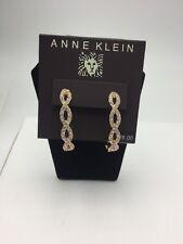 $28 Anne Klein Rose Gold Tone Crystal Hoop Earrings #119