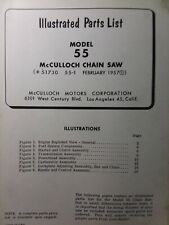 Mcculloch 55 Chain Saw Parts Manual Chainsaw 1957 Gasoline Engine 2 Stroke