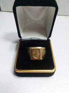 Mens Mercedes Benz 18 Karat Gold Plated Ring Size 10