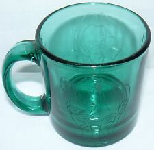 Rhinoceros 12 Oz Etched Green Glass Front End And Back Side Rhino Cup Mug