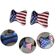 2x US National Flag Bone Auto Car Seat Head Rest Neck Pillow PU Leather Headrest