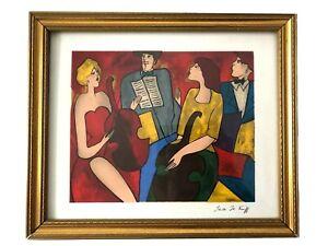 Vintage LINDA Le KINFF Framed SERIGRAPH Art Print QUARTET Of MUSICIANS Signed