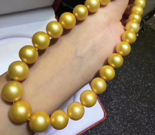 AAA+ 12-15mm natural Australian south sea golden pearl necklace 18inch 14K CLASP
