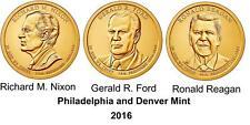 2016 P & D RICHARD NIXON  GERALD FORD & RONALD REAGAN DOLLAR COINS     6 Coins