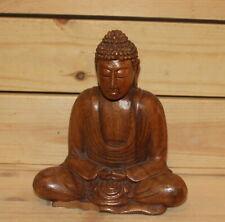 Vintage hand carving wood statuette Buddha