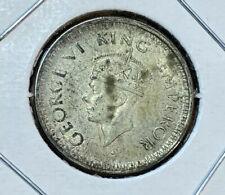 British India 1941 1/4 Rupee Silver Coin
