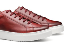 New Moral Code Alec Premium Red Leather Low Lace Shoes Trainers Sneakers UK10