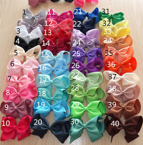 "Girls 4"" inch hair bows pony band bobble ponio grossgrain ribbon 40 colours lot"